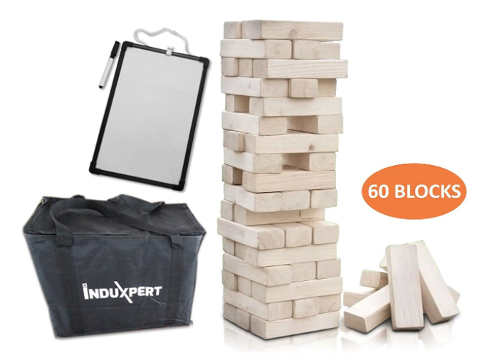 giant wooden jenga stacking block outdoor game
