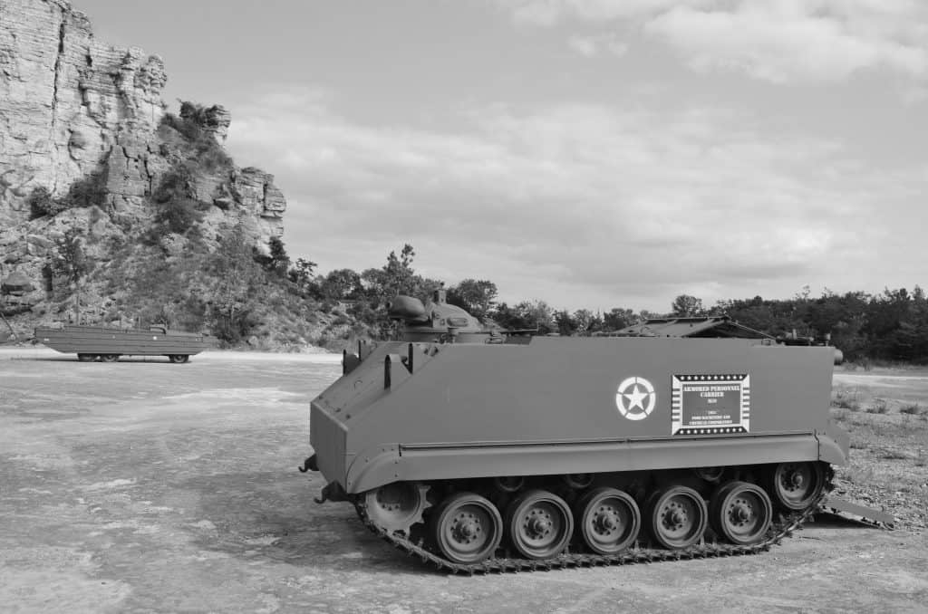 black and white of military vehicle at Ride the Ducks in Branson