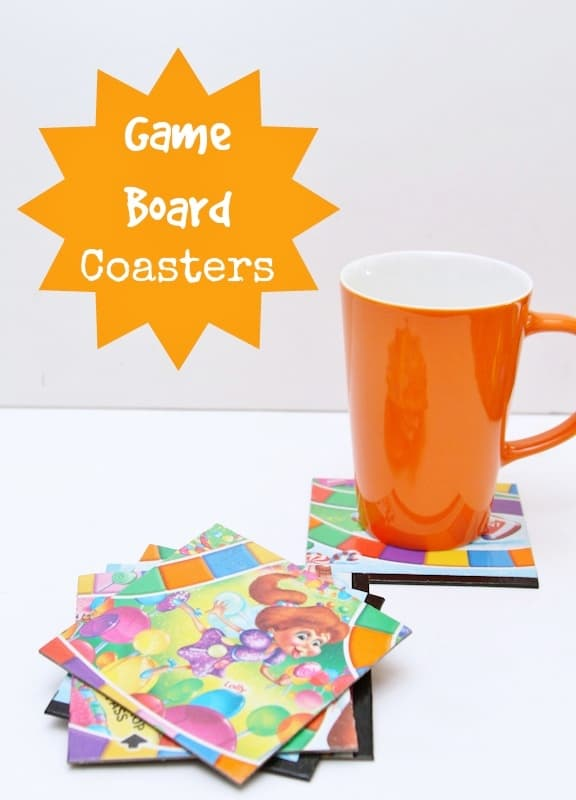 upcycled game board coasters for kids and teachers