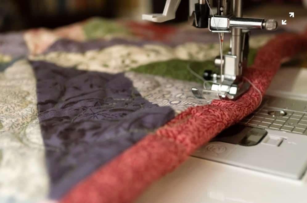 sewing fabric close up