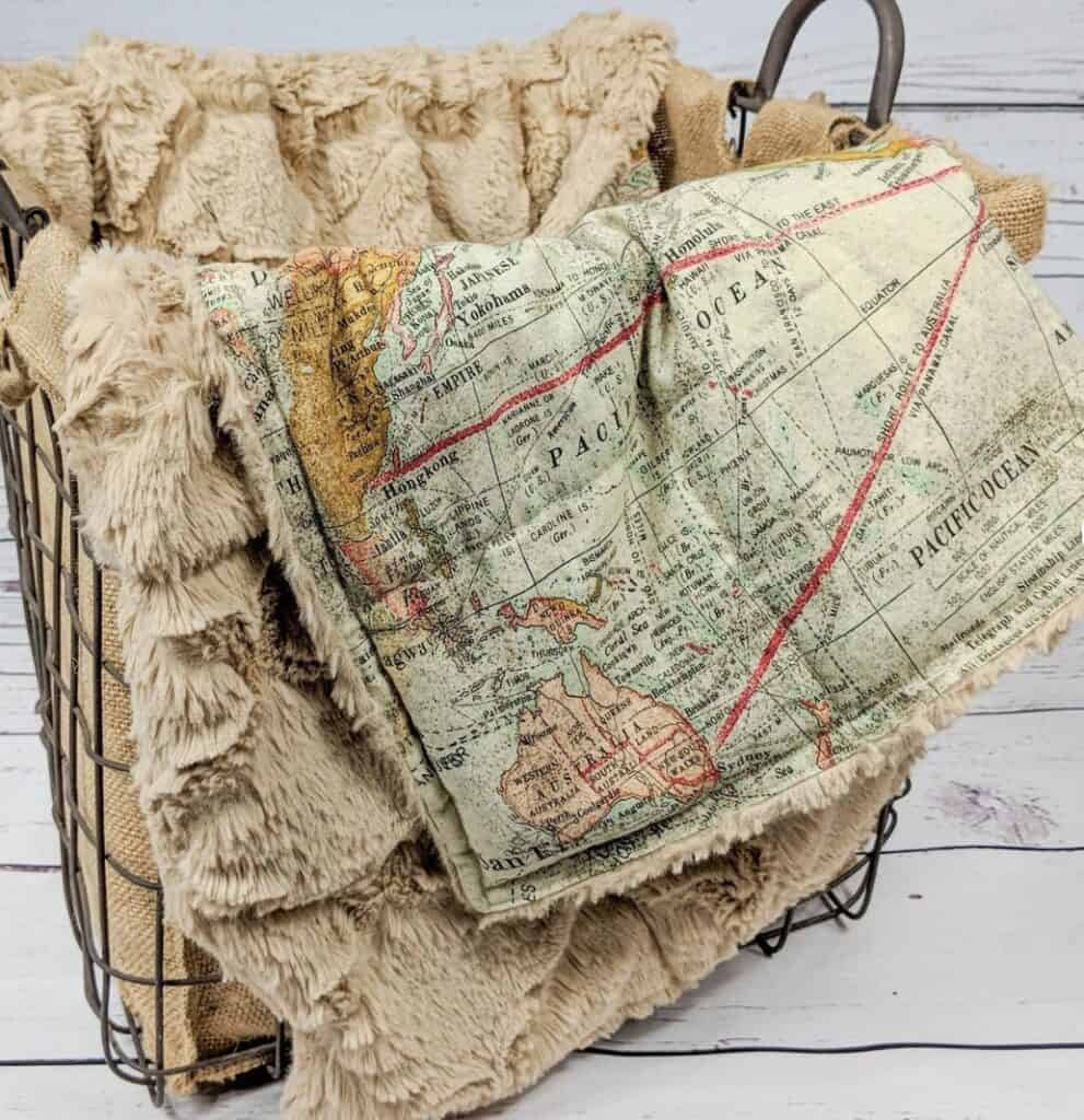 vintage map weighted blanket