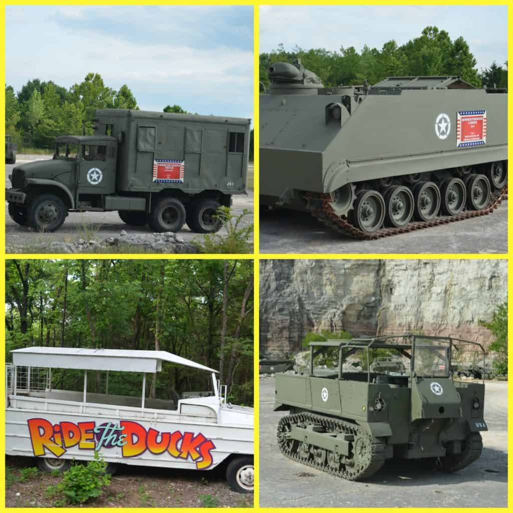 military vehicles seen on ride the ducks in Branson