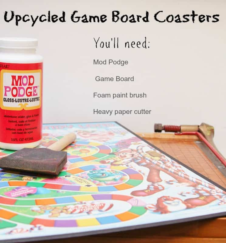 upcycled game board coasters tutorial
