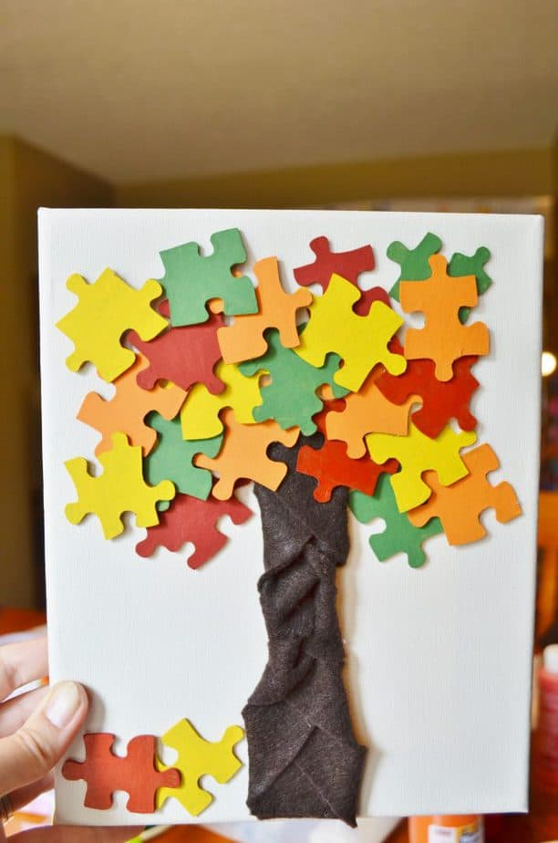 fall autumn puzzle pieces craft for kids