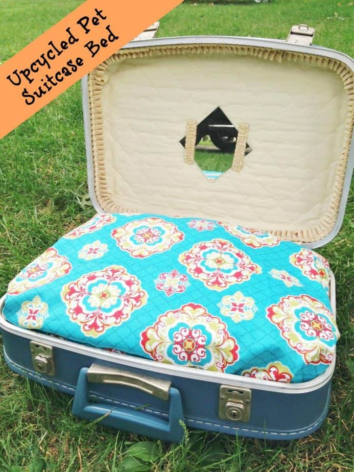upcycled pet suitcase bed