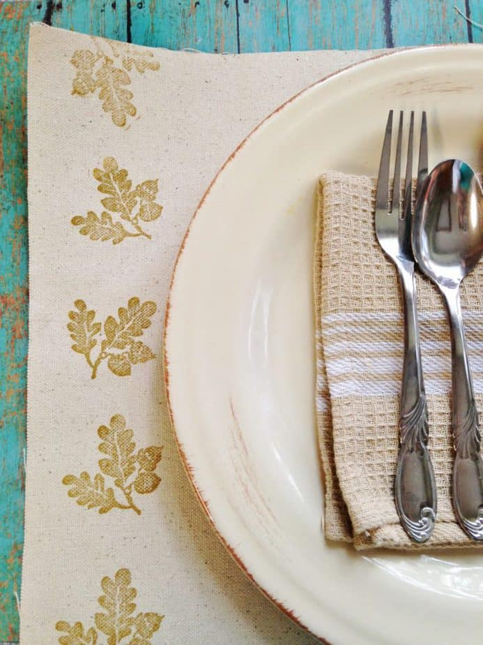 Thanksgiving DIY hand Stamped place setting tutorial