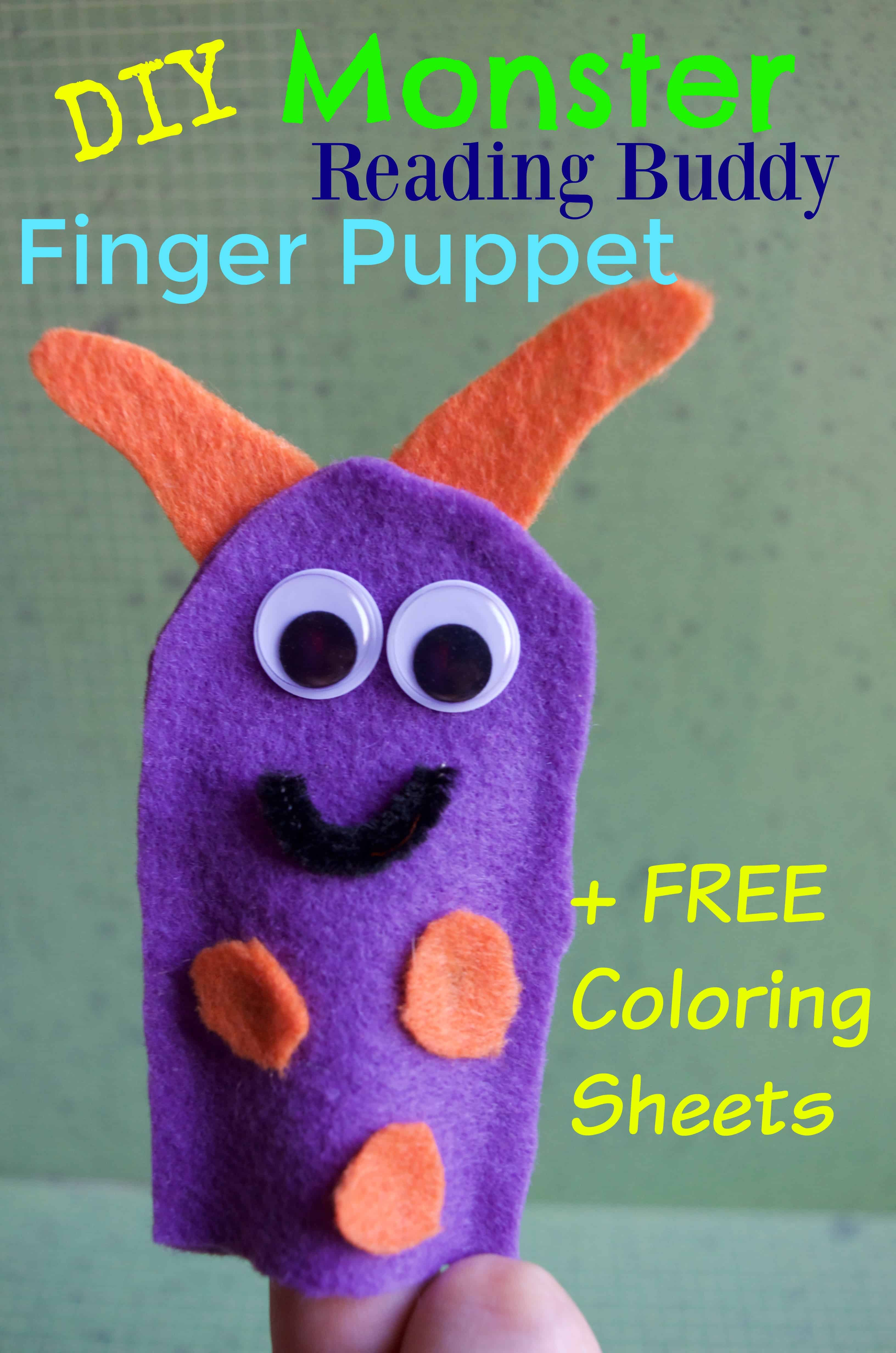 DIY Monster Reading Buddy Felt Finger Puppet