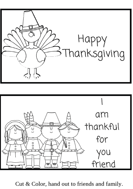 Thanksgiving Printable cards for kids