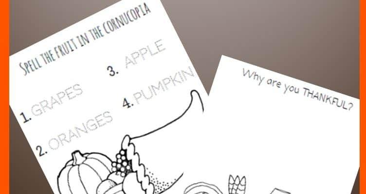 FREE Thanksgiving Writing Printable Worksheets + BONUS Freebie