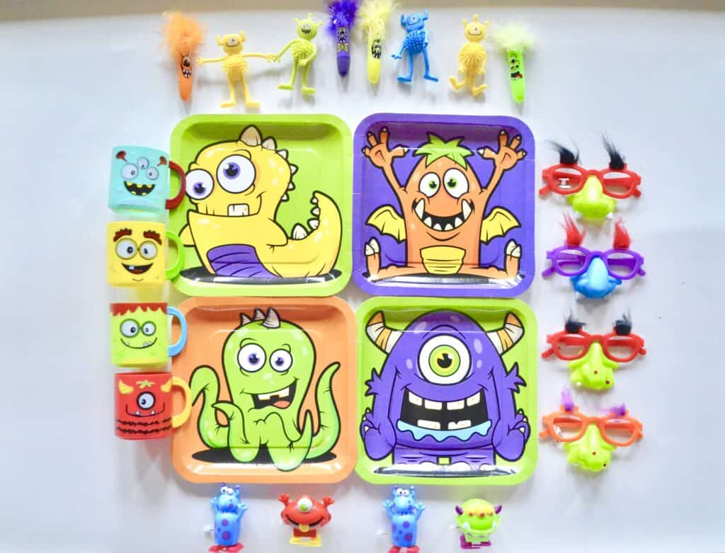 colorful monster party decor