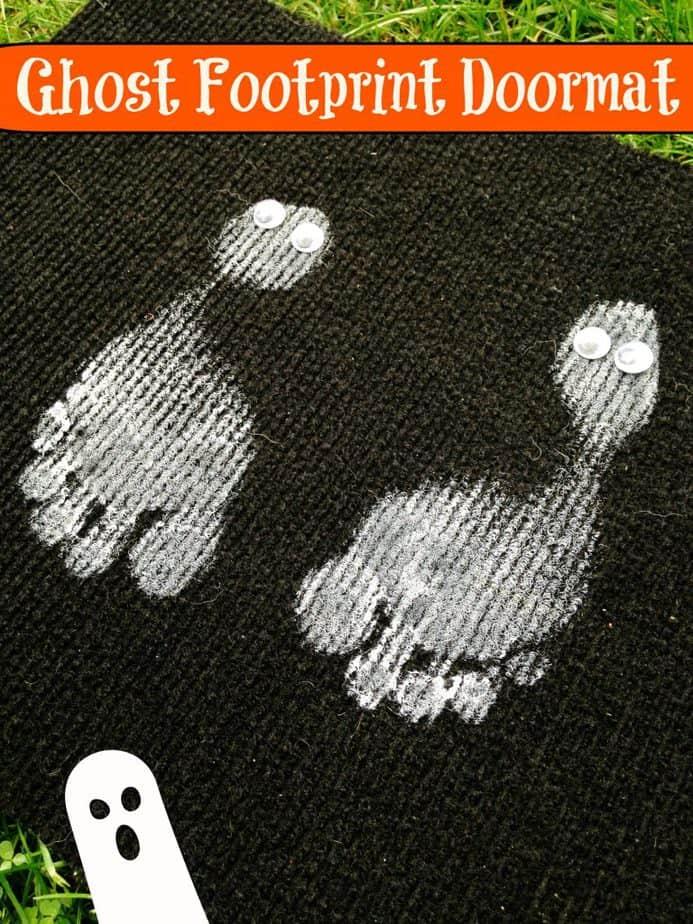 kids halloween ghost footprint doormat