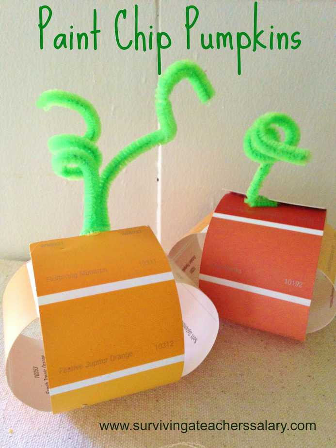 paint chip pumpkins easy fall craft for kids classrooms. Black Bedroom Furniture Sets. Home Design Ideas