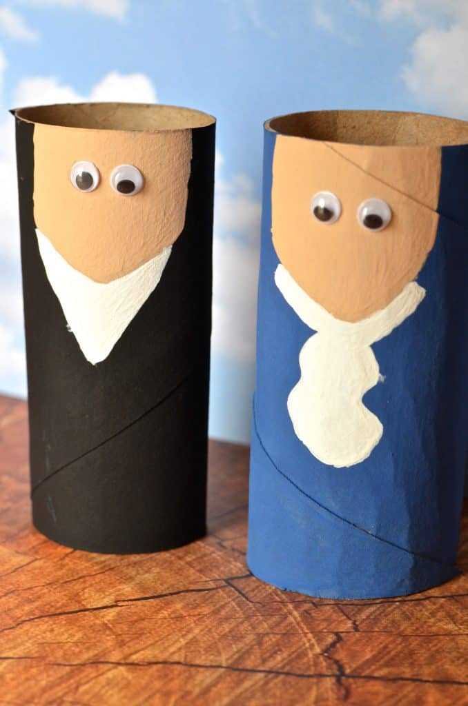 President Washington and Lincoln Toilet Paper Tube Craft for Kids