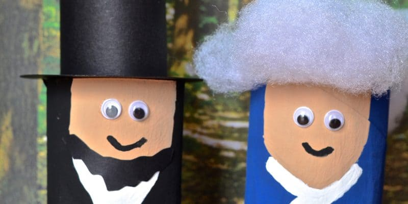 President Lincoln & Washington Toilet Paper Tube Craft for Kids