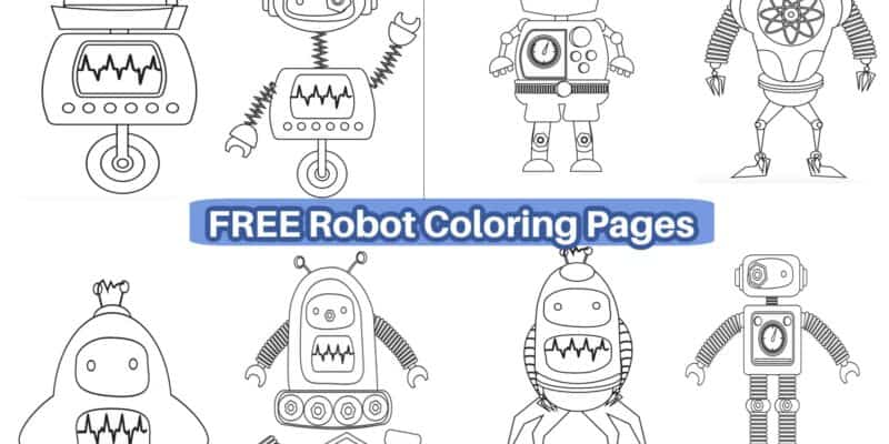 8 robot coloring pages