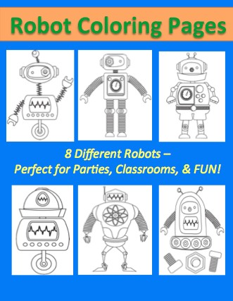 free robot printable coloring sheet pages for kids