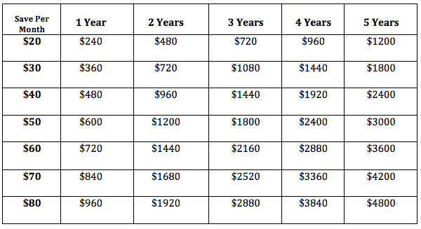 vacation money saving chart