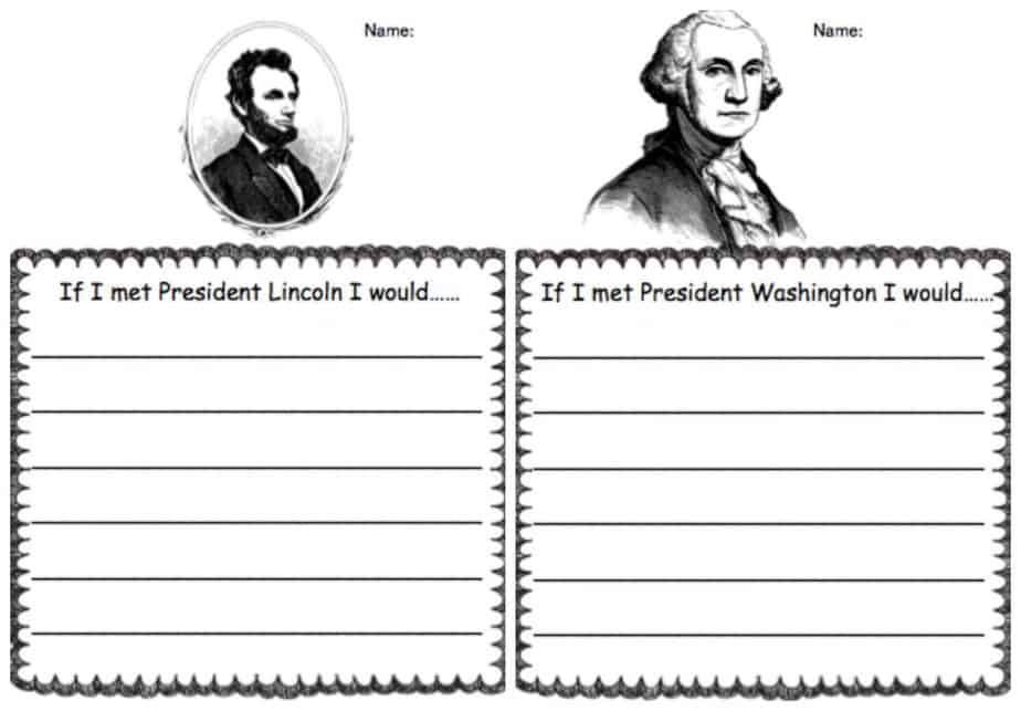presidents lincoln washington writing prompt