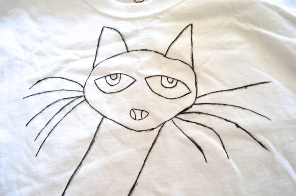 hand drawn pete the cat on a white tshirt
