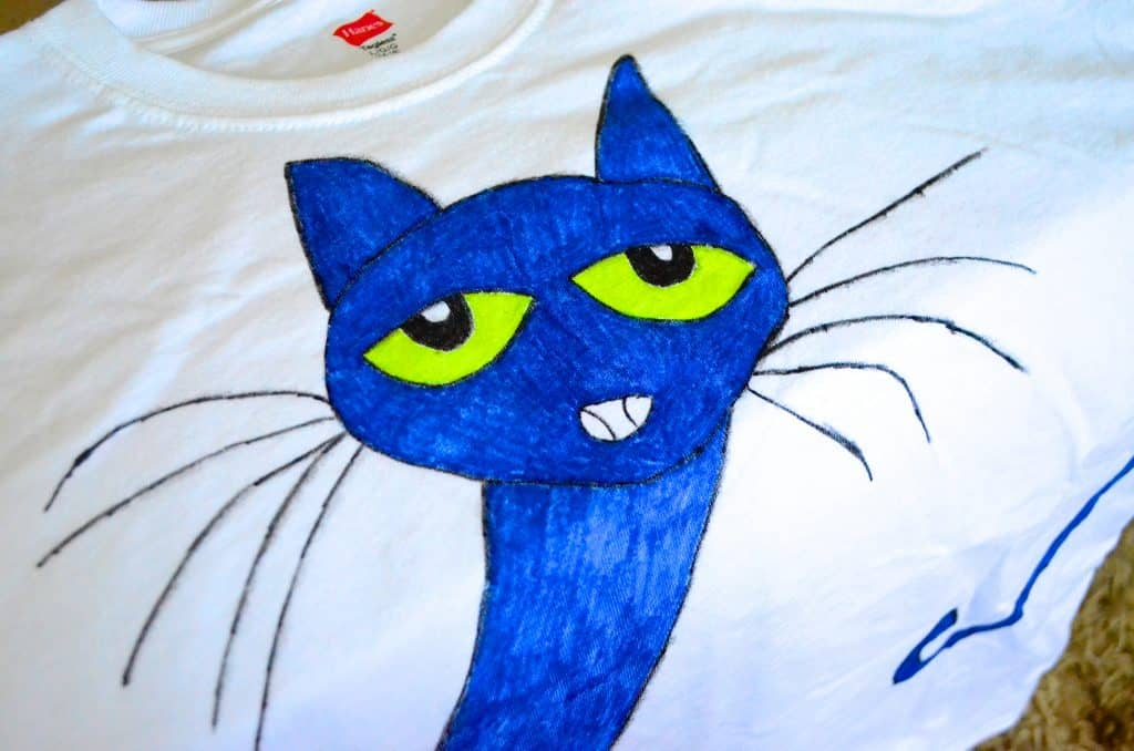 blue Pete the Cat kids Tshirt