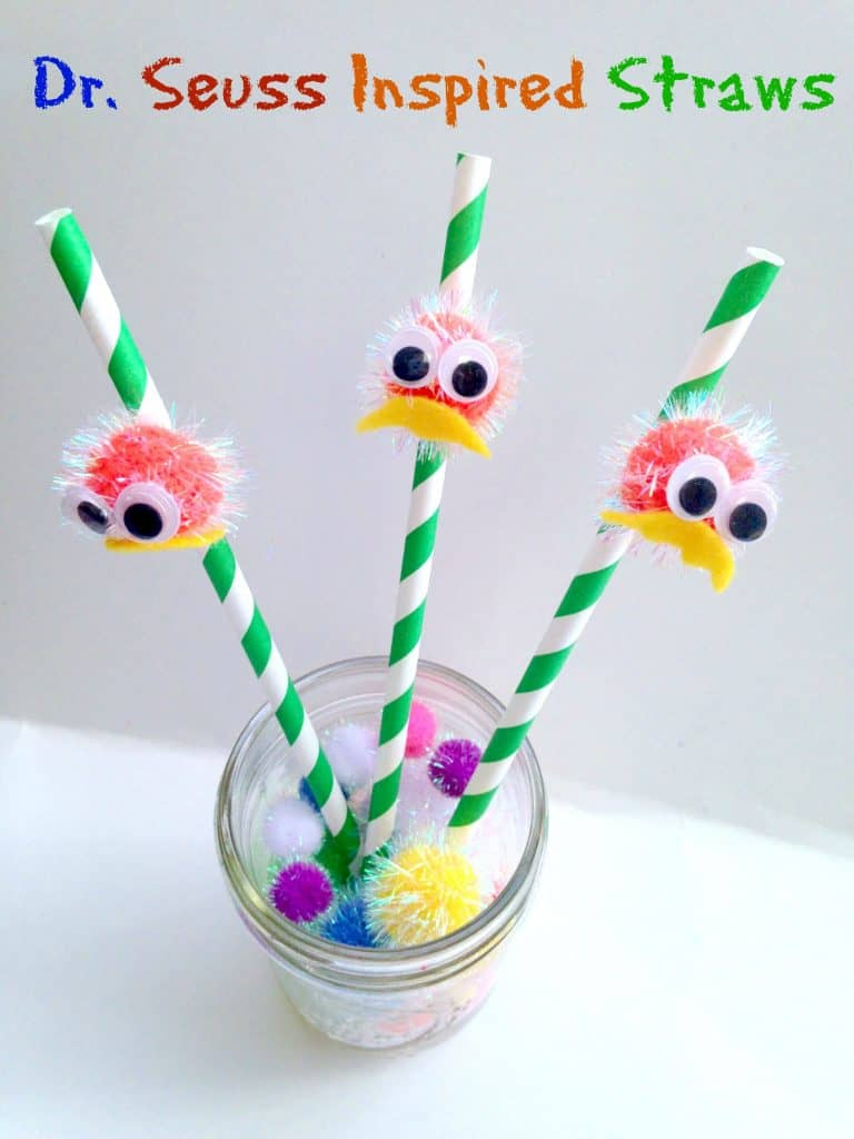 dr seuss lorax inspired straws for kids