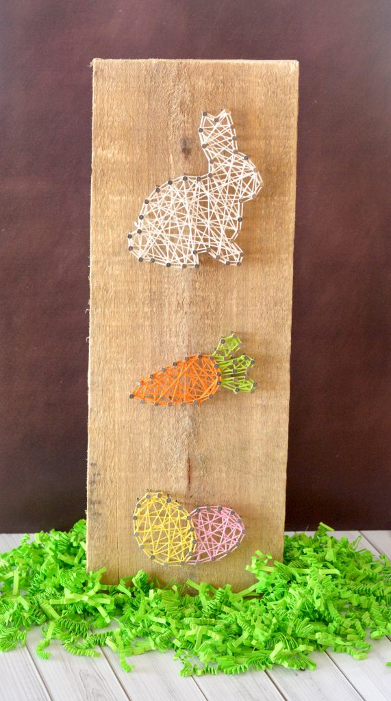 Easter String Art Home Decor Craft - Bunny Carrot and Egg with Free Printable Template