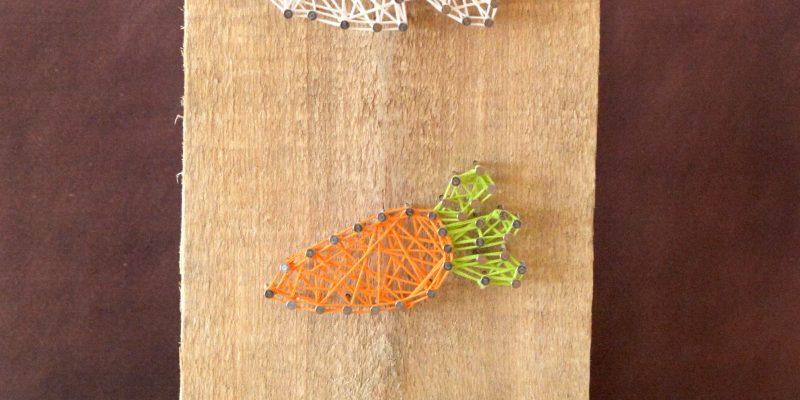 Spring Easter Bunny, Carrot & Egg String Art Craft