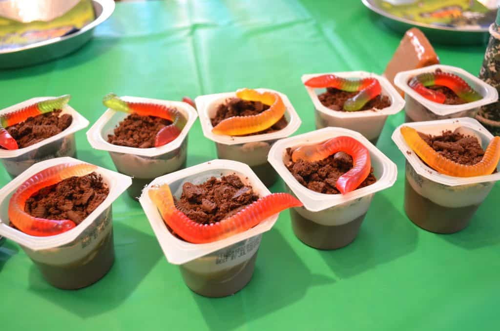 pudding cup of dirt and gummy worms camping party