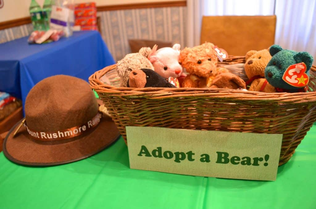 adopt a bear station at camping birthday party