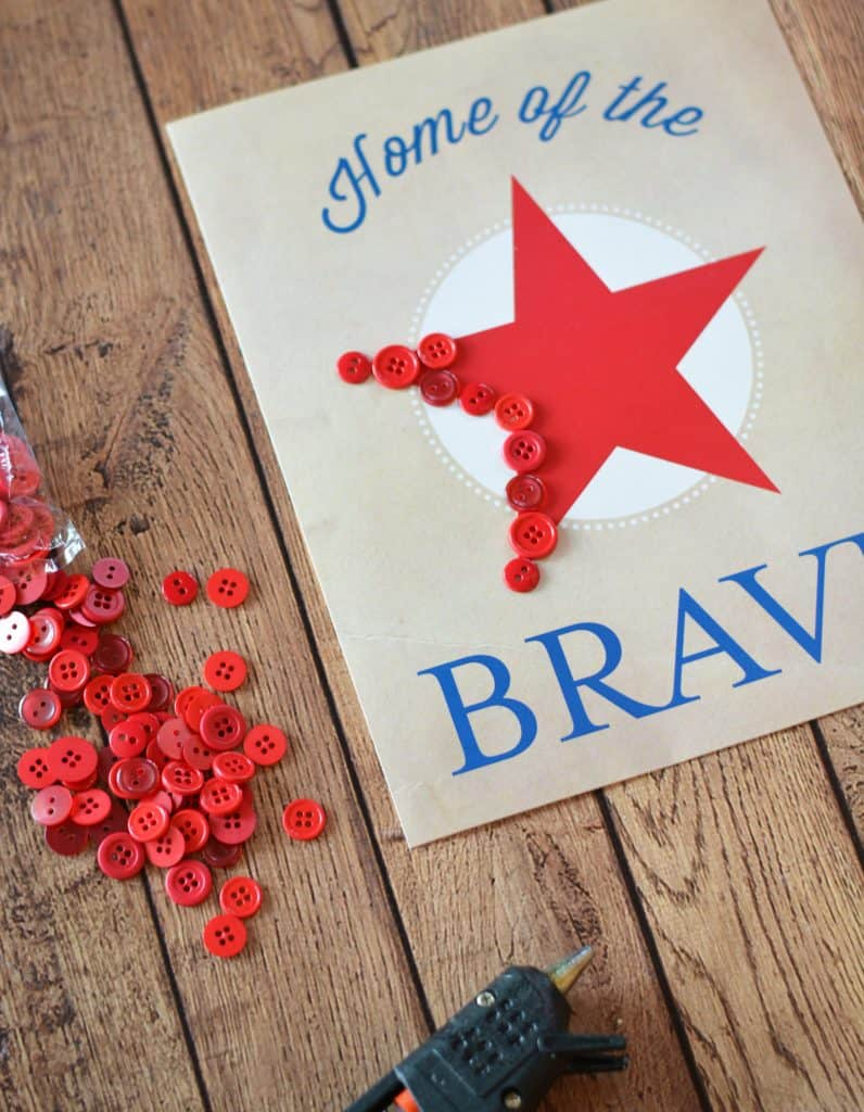 Patriotic Home of the Brave Art Wall Decor Project with FREE Printable