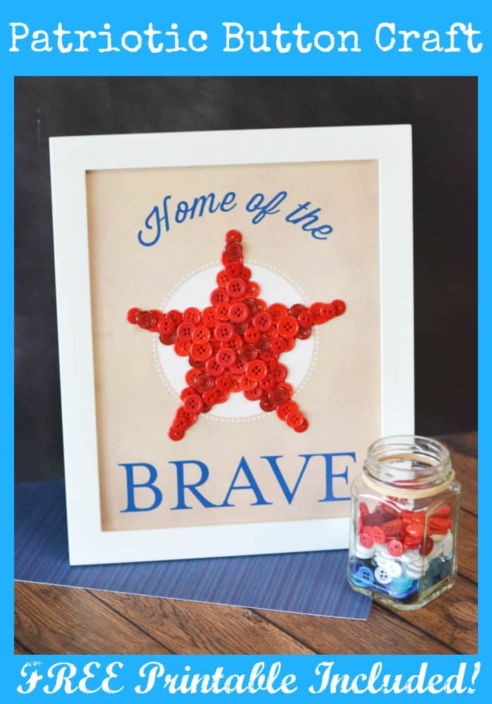 DIY Patriotic Home of the Brave Art Wall Decor Project with FREE Printable