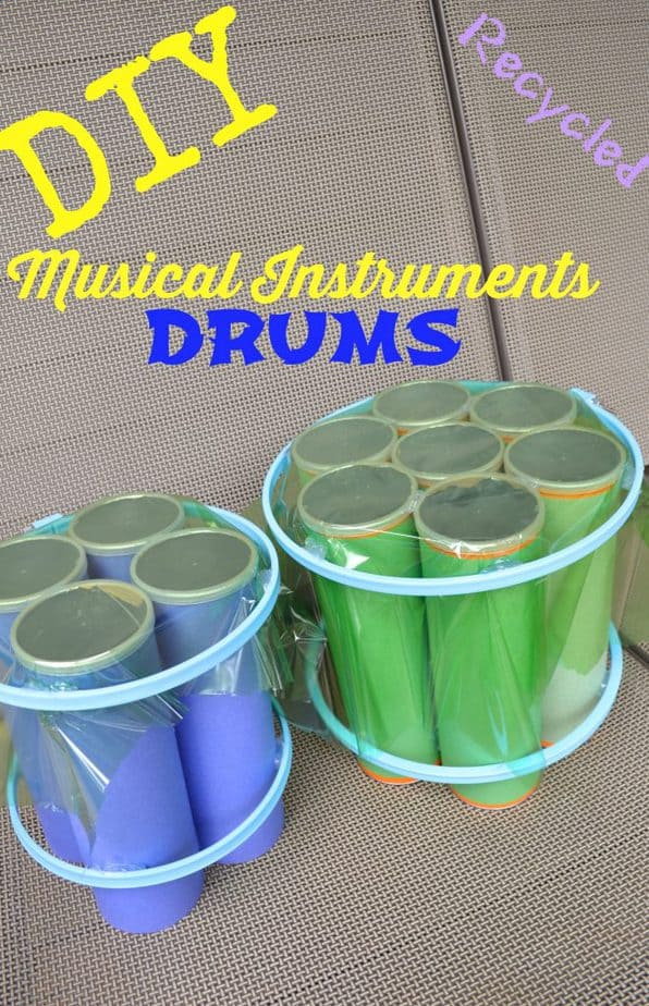two recycled drums from chip cans