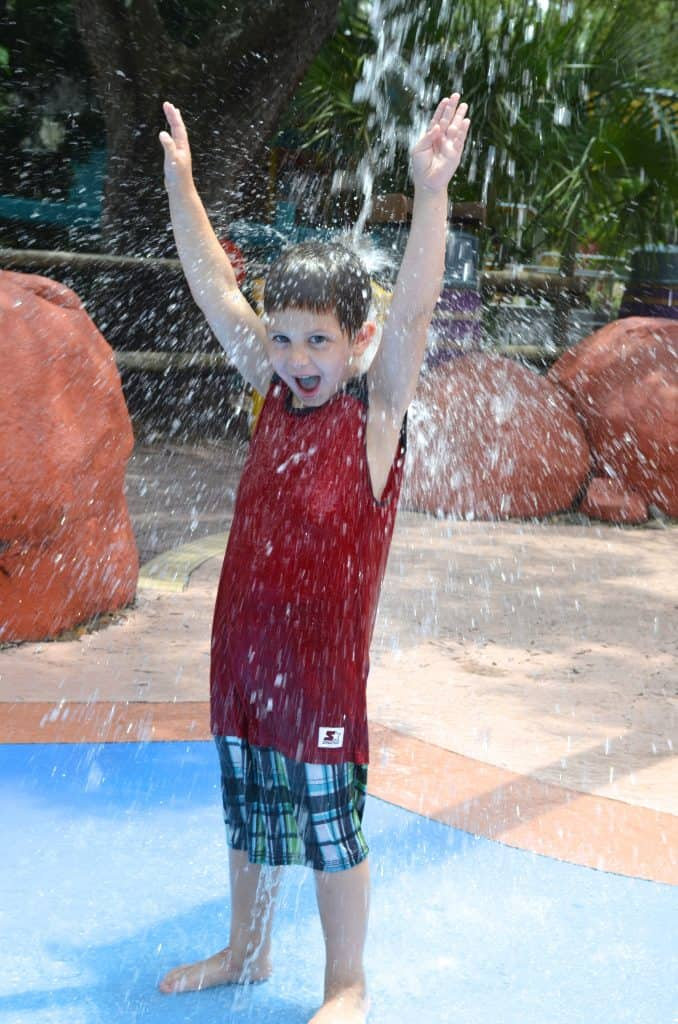 boy playing in splash water pad at Lowry Park Zoo