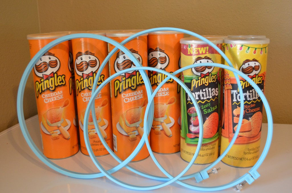 empty chip cans and embroidery hoops for drums