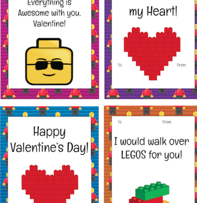 Printable LEGO Valentine's Day Cards