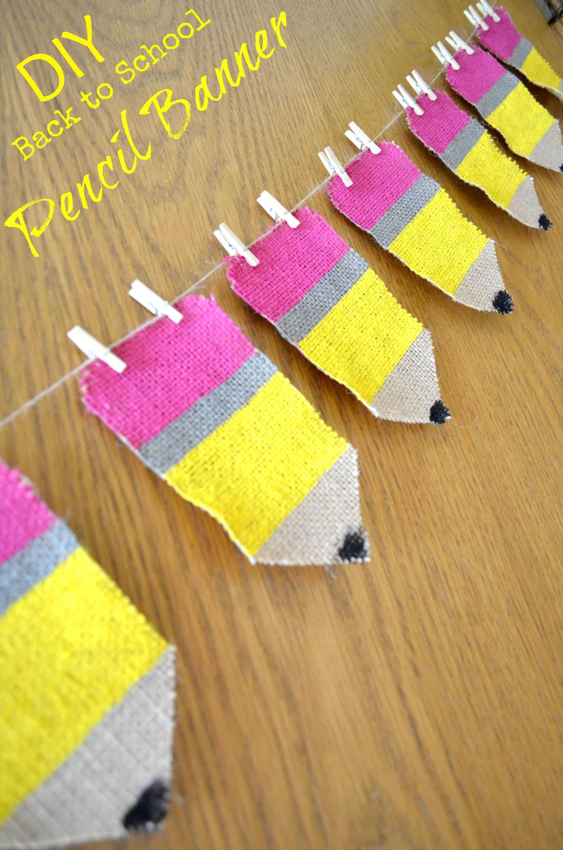 Back to School Pencil Burlap banner