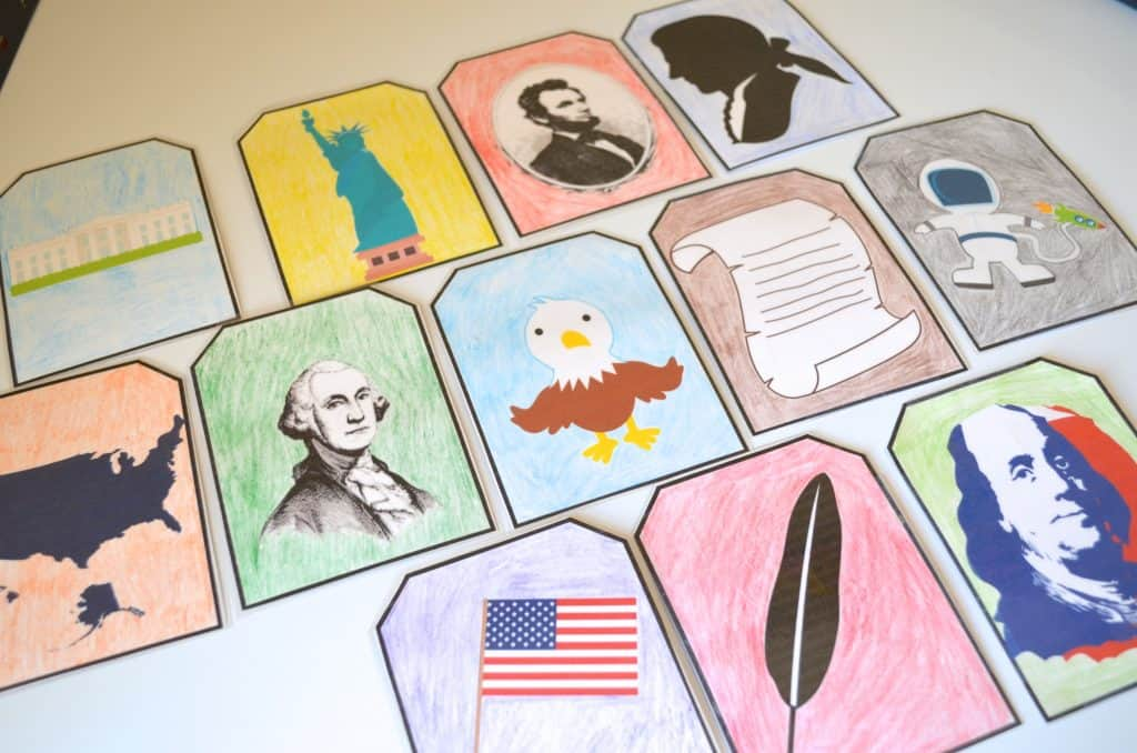 coloring page Patriotic History Trading Flash Cards for Kids