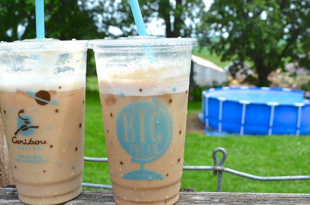 two cups of Caribou iced coffee