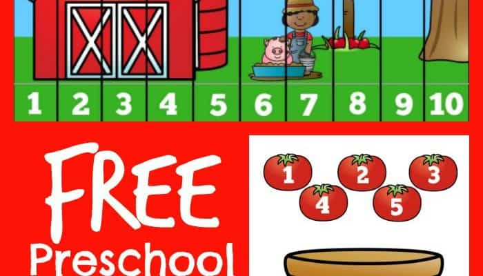 Preschool Farm Math Counting Printable Set