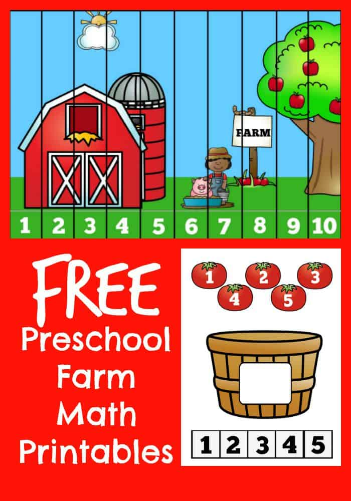 Preschool Farm Math Printable