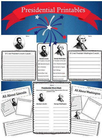 FREE Presidents Printable Bookmarks, Word Games, Writing