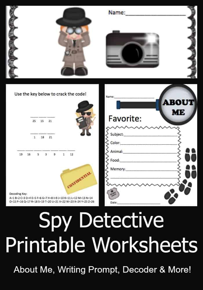 Spy Detective FREE Printable Worksheets