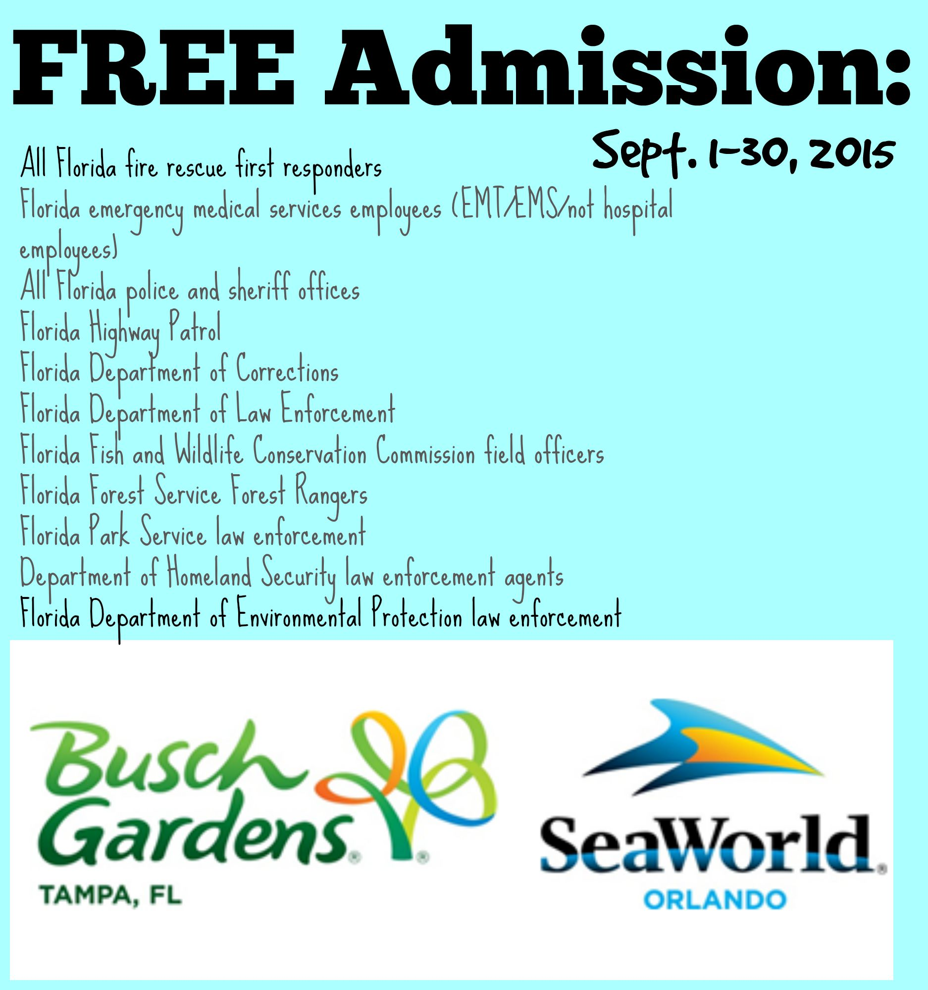 FREE Admission for First Responders - Sea World & Busch Gardens