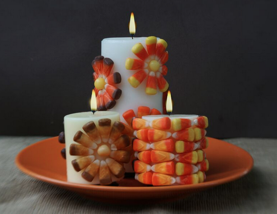 Candy Corn Thanksgiving Candle Festive Home Decor
