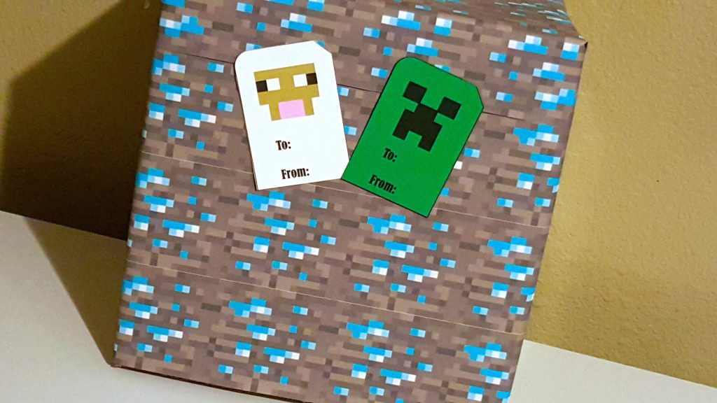 minecraft block creeper and sheep gift tags