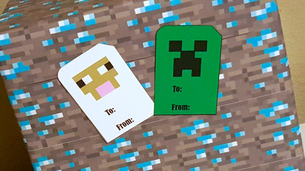 minecraft creeper and sheep gift tags