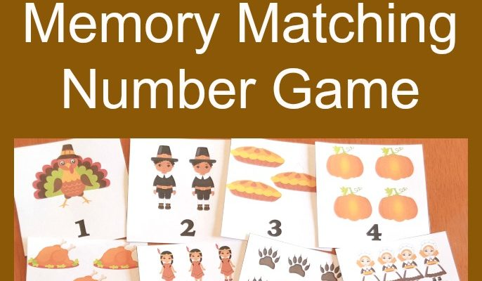 FREE Thanksgiving Printable Memory Match Number Game