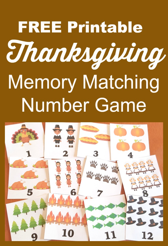 Free Printable Thanksgiving Memory Matching Number Game