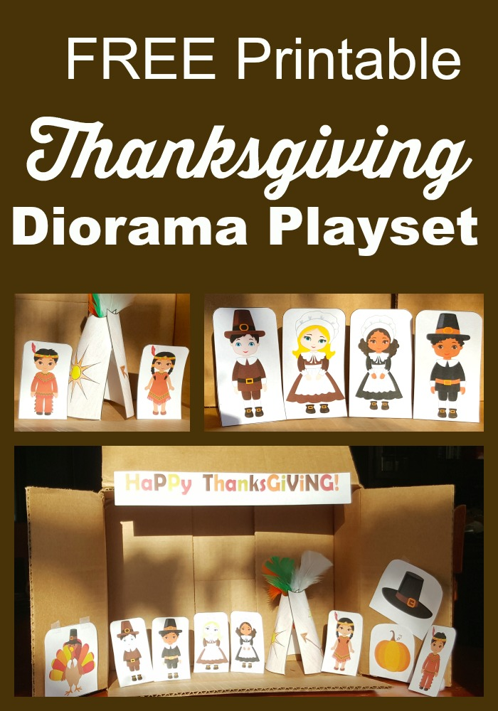 Free Thanksgiving Printable Diorama Playset