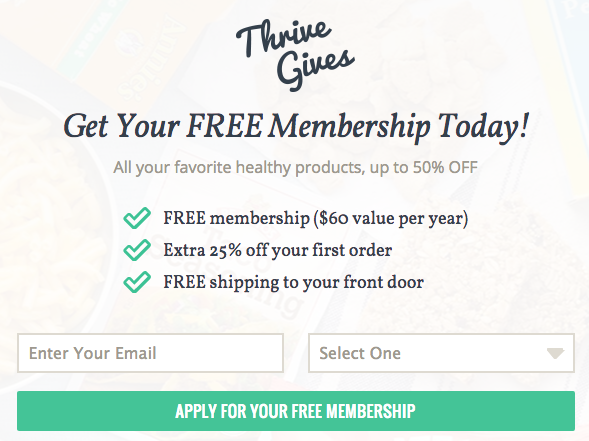 sign up box for free thrive market membership for teachers